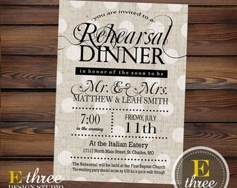 Rehearsal Dinner Invitations - Rustic Black and Gray Linen Wedding Rehearsal Invitations - Elegant Neutral