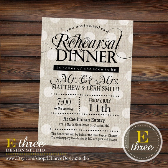 Printable Rehearsal Dinner Invitation - Rustic Rehearsal Invitation ...