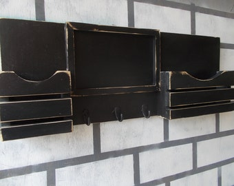 Mail Organizer - Chalkboard Mail Organizer - Chalkboard - Mail Holder -Message Board- - Organizer - - Wood