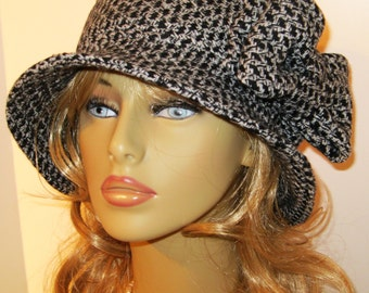 Womens Wool Winter Fall Cloche Hat--Black and White Tetris Woven Pattern