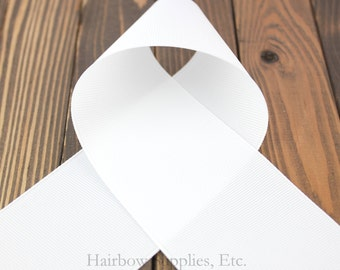 White 5/8 inch Solid Grosgrain Ribbon - Choose 1, 5, 10, 20 or 50 Yards -Hairbow Supplies, Etc.