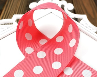 Coral Polka Dot 7/8 inch Grosgrain Ribbon - Choose 1-20 yards - Hairbow Supplies, Etc