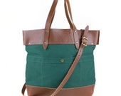 Fold-Over Tote - Juniper and Brown Leather