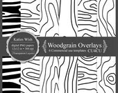 Woodgrain Overlays kit Faux Bois Design commercial use transparent PNG files Instant Download