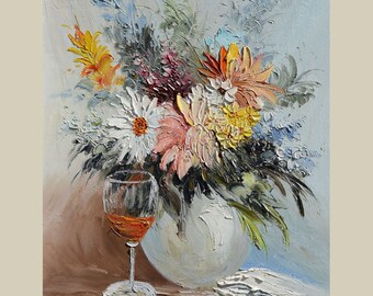 ORIGINAL Painting Oil Painitng Colorful Textured painting Palette knife painting Vase still life panitng flowers wal art ART by Marchella