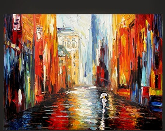 Cityscape Original MADE-to-ORDER Painting Oil Palette knife Rainy Woman Umbrella white coat Hand made texture colorful wall ART by Marchella