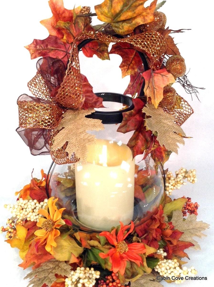 Fall lantern centerpiece floral arrangement w flameless candle
