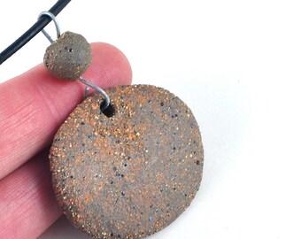 Unisex Ceramic Necklace Handmade Jewellery Organic Brown Pendant on Leather Thong
