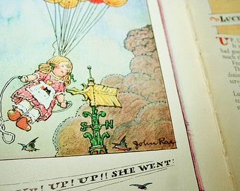 Lucy Locket Up in the Air Original 1928 Two Page Spread for Framing Lucy Locket The Doll with the Pocket Color Collage Art