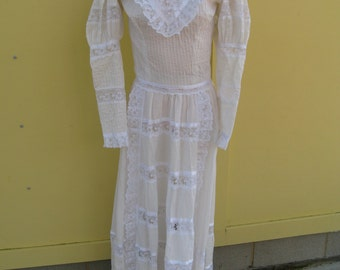 Victorian Revival Prairie Wedding Dress TALL size 4/6/8 Alterations Possible