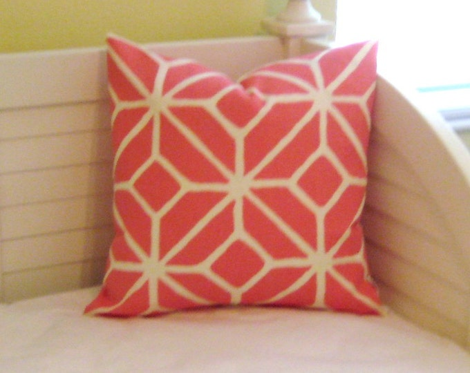 Schumacher Trina Turk Trellis in Watermelon on BOTH SIDES Indoor Outdoor Designer Pillow Cover