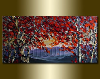 Commission Original Autumn Birch Forest Modern Landscape Tree Art Painting Textured Palette Knife Oil on Canvas Seasons 20X40