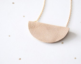 "Leather Half Moon Necklace - Minimalist - Geometric - Leather Anniversary Gift - ""Better Half"""