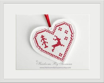 Deer In-The-Hoop Ornament Design - Machine Cross Stitch Embroidery Design - Christmas Heart Ornament - Winter Ornament - Heart Deer