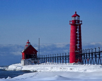 Winter at the Red Lighthouse in Grand Haven Michigan on the Snow Covered Lake Michigan Shore No.0111 A Fine Art Seascape Photograph