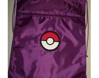 Pokemon Pokeball  Christmas Bag Drawstring Backpack Purple