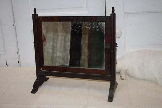 Antique Wood Standing Mirror Vanity Bureau By