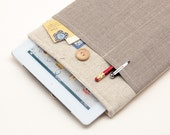 60% OFF Winter SALE White Linen iPad Case with dark linen pocket and button closure. Padded Cover for iPad 1 2 3 4. iPad Sleeve Bag.