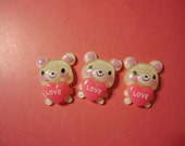 Kawaii heart bear cabochons   3 pcs    USA seller