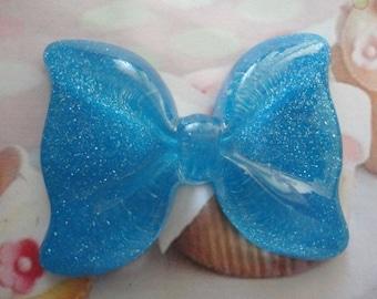 Kawaii big glitter blue bow decoden phone deco diy cabochon---USA seller