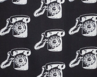 SPECIAL--White on Black Vintage Telephone Print Pure Cotton Fabric--One Yard