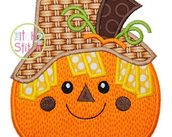 "Pumpkin Scarecrow Applique, Shown with our ""Cinnamon Cake"" Font NOT Included, Sizes 4x4, 5x7, & 6x10 INSTANT DOWNLOAD available"