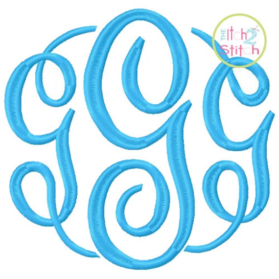 Fancy Circle LARGE Monogram Font Machine Embroidery (small size sold separately)