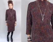 Vintage 1960s Brown Knit Cheongsam / 60s Dress