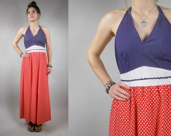 Vintage 1970s / 70s Polk Dot Halter Maxi Dress in Red, White and Blue