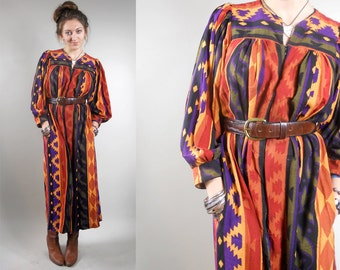 Vintage 1970s Caftan / Dress / 70s Boho Dress / 1970s Vintage Aztec Pattern Southwest Dress