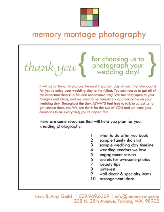 Wedding photography welcome packet business form for like this item junglespirit Choice Image