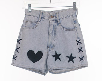 Vintage 90s light wash high waist deinum shorts with leather flower, heart and star patches