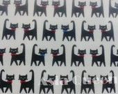 "Cats cat - 1 yard - cotton linen - 2 colors to choose, Check out with code ""5YEAR"" to save 20% off"