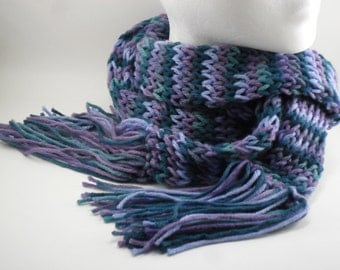 Loom Knit Extra Long Skinny Scarf in Luxury - Multicolour Teal Violet Tulip Purple Placid Blue Green Turquoise Lavender