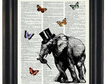 BOGO SALE Dancing Elephant Dictionary Art Print with HHP Signature Butterflies Wall Decor Dictionary Print