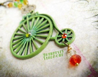 Penny Farthing bicycle necklace victorian green Steampunk and vintage