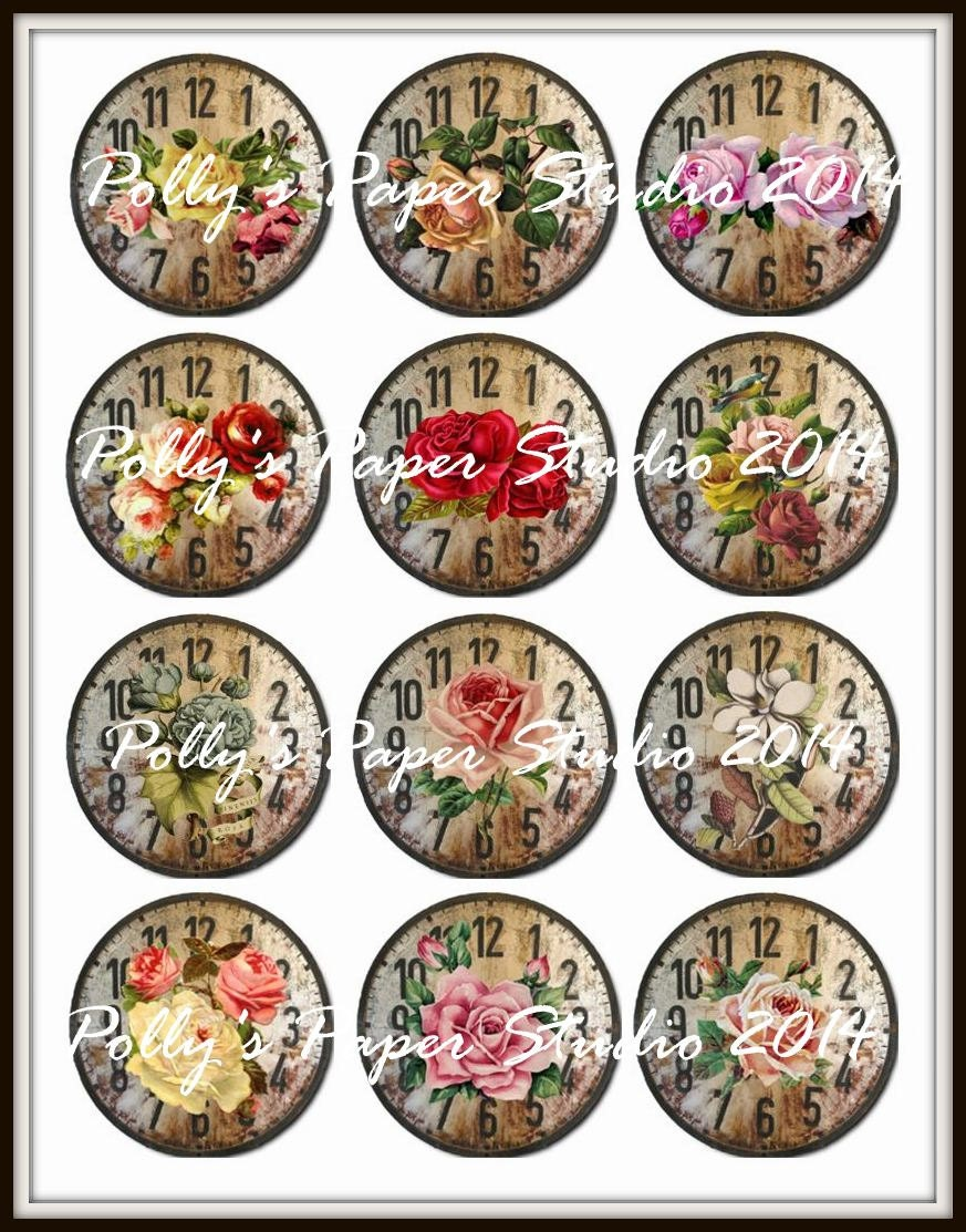 Vintage Flower Clocks Collage Circle Images 2.5 x 2.5 Inches