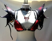 Leather Pointed Shoulder Pauldrons- Spike and stud accents, Leather armor, costume leather, custom dye
