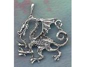 Dragon Guardian Pendant Sterling Silver Dragon Jewelry  FAN004