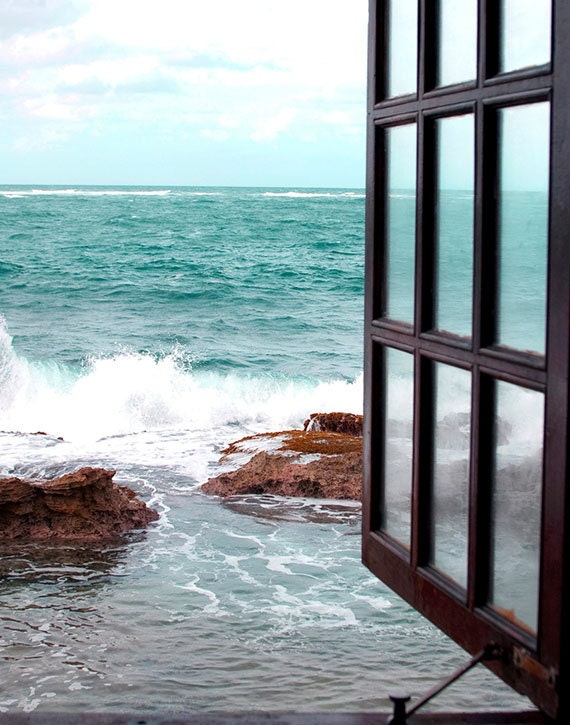 Window to the Sea, Fine Art Photography, Coastal Home Decor, Beach Photography, Turquoise, White, Wall Art, Print