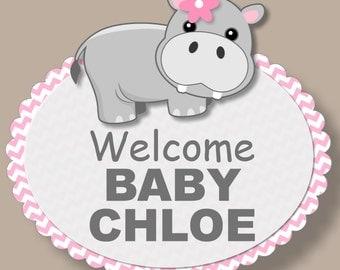 Pink Hippo Baby Shower Door Sign 3-D