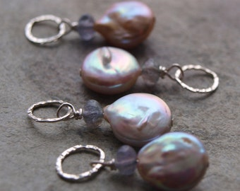 Coin Pearl and Iolite Charm Pendant