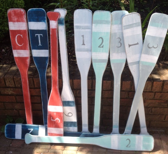 Nautical Wall Decor Oars: Oar Paddle Sign Wall Art With Numbers Letter By CastawaysHall