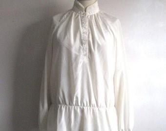 Vintage Plus Size 70s Blouse Kay Silver Peplum Polyester Faille 1970s Balloon Sleeve Top 14