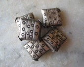 Vintage Silver Beads: Authentic Handmade Tribal Thai-Khmer Diamond Pillow Shape, Etched Ethnic Design, 12mm. One piece
