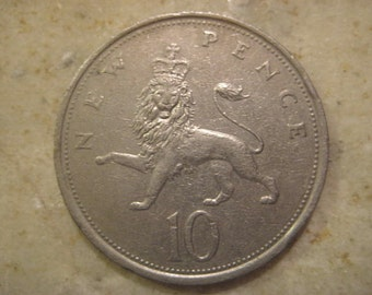 1975 United Kingdom, British Coin, New Pence 10 Coin