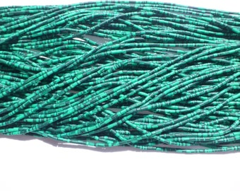 """MALACHITE beads. BANDeD MaTTE Finish Heishi Beads. Reconstituted Malachite. SuPer SaTurated COlor. 14"""" strand. 5 Strands. 2mm (H-Mal200)"""