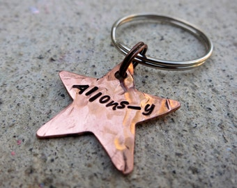 Doctor Who Quote - Allons-y Star - Hand Stamped Key Chain   -Made to Order-