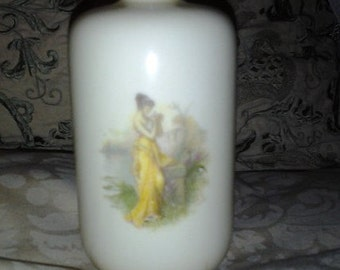 SALE R C Bavaria Porcelain Pale Yellow Vase Hand Painted with Two Risque Scenes