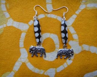 Kenyan Batik Bone Elephant Charm Earrings